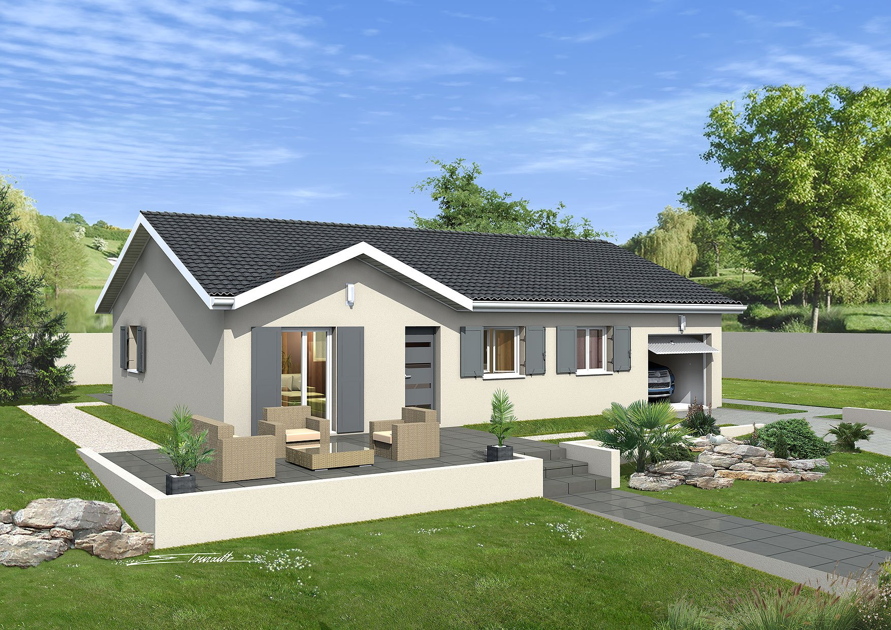 Maisons + Terrains du constructeur MAISONS PUNCH BOURGOIN • 89 m² • LES AVENIERES