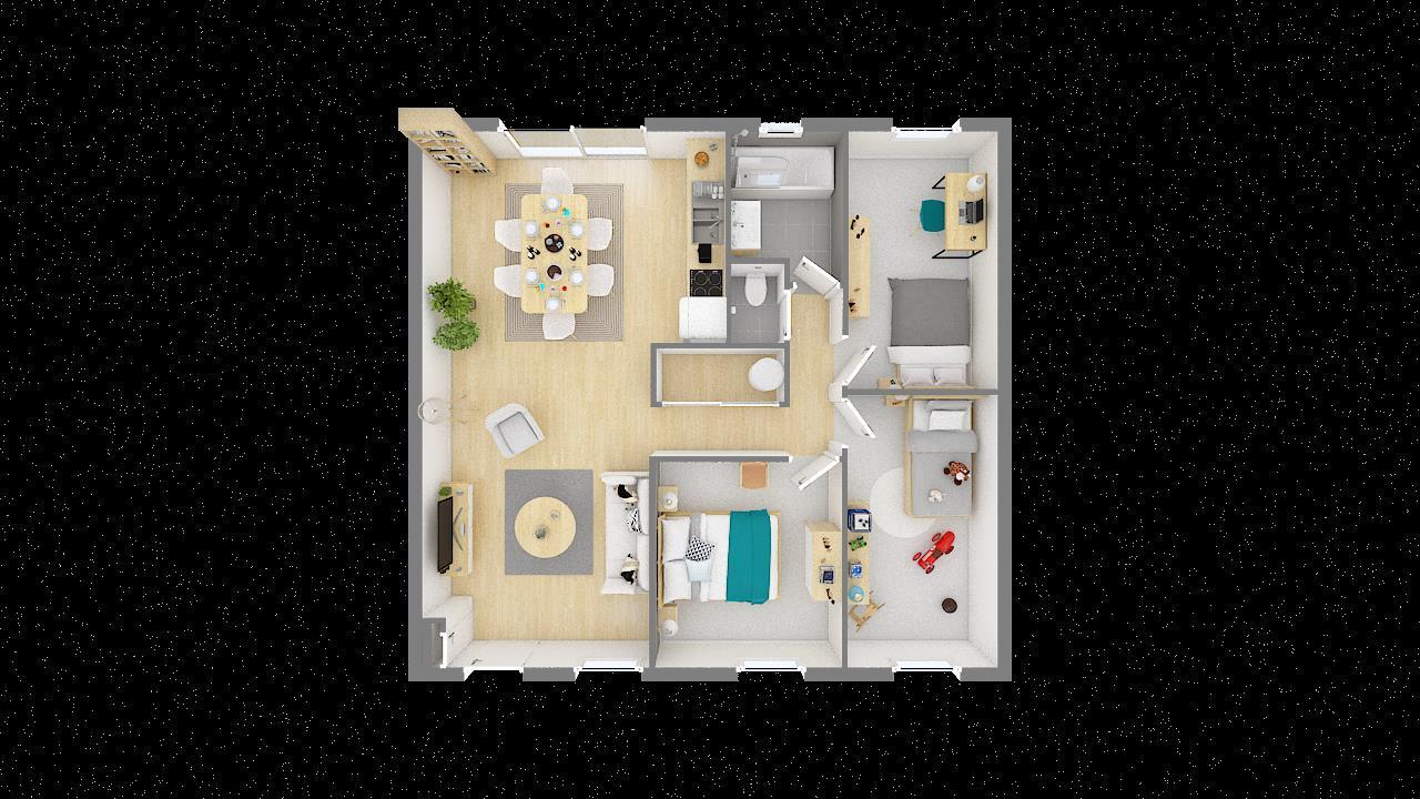 Maisons + Terrains du constructeur MAISONS PHENIX LEZENNES • 70 m² • LA CHAPELLE D'ARMENTIERES
