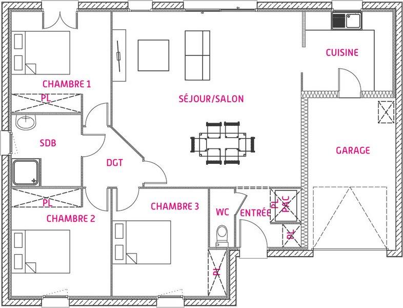 Maisons du constructeur MAISONS UNO • 89 m² • MIGNALOUX BEAUVOIR