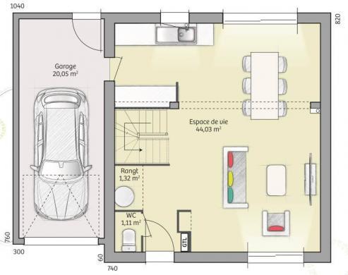 Maison+Terrain à vendre .(91 m²)(MERU) avec (MAISONS FRANCE CONFORT)