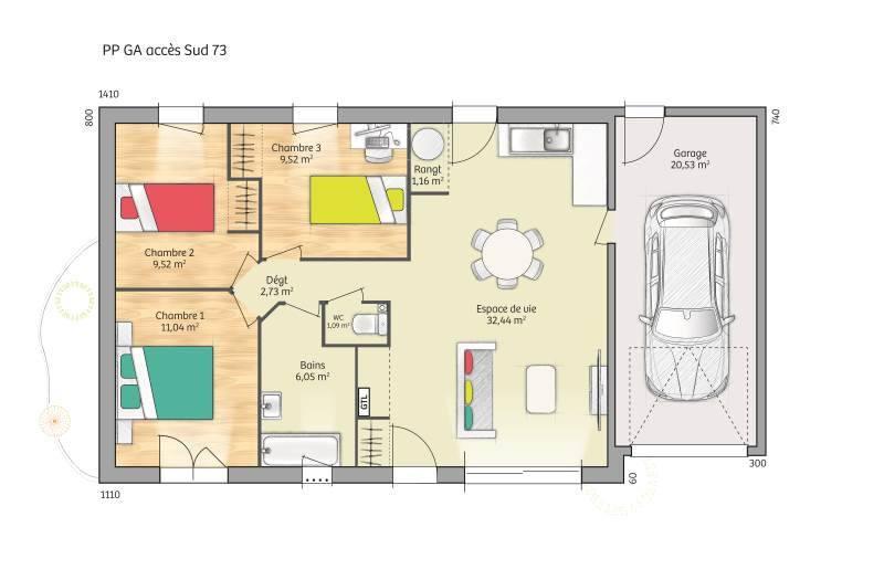 Maisons + Terrains du constructeur MAISONS FRANCE CONFORT • 73 m² • BUEIL