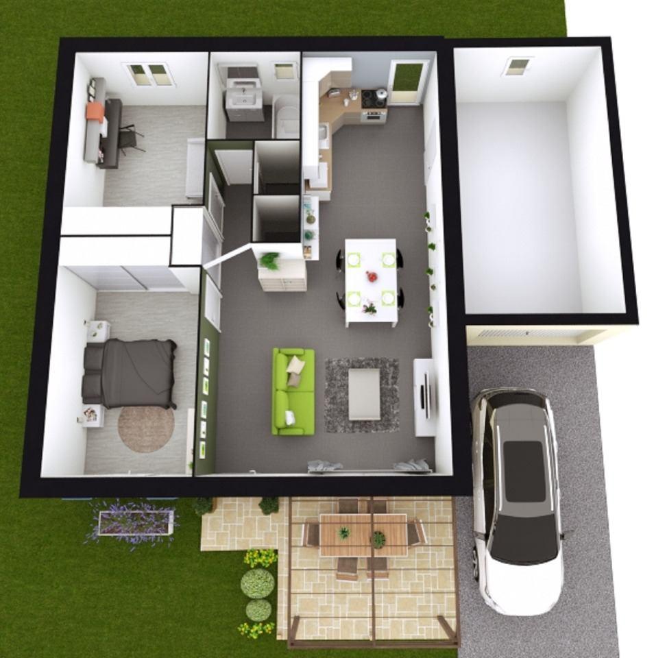 Maisons + Terrains du constructeur MAISONS FRANCE CONFORT • 60 m² • LAUDUN