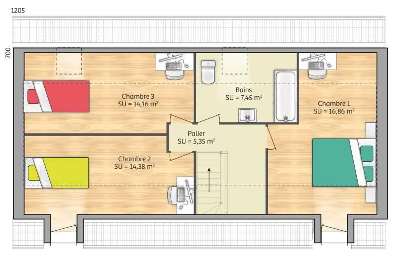 Maisons + Terrains du constructeur MAISONS FRANCE CONFORT • 90 m² • PONCHON