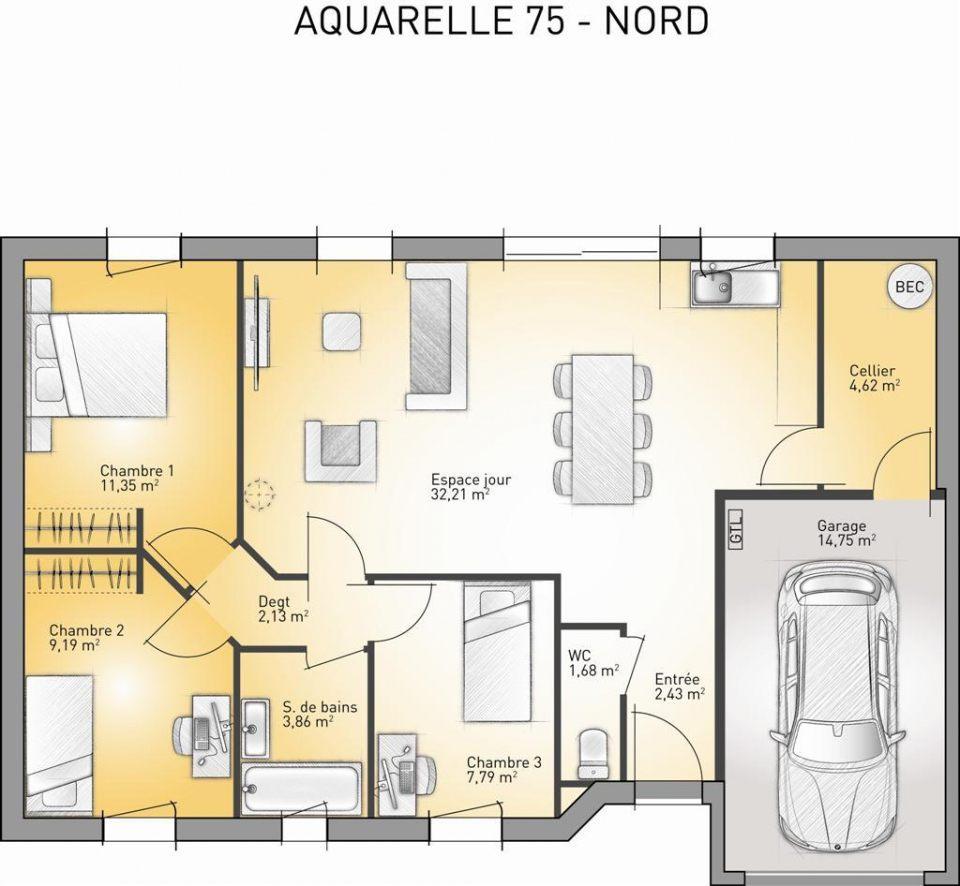 Maisons + Terrains du constructeur MAISONS FRANCE CONFORT • 75 m² • THEROUANNE