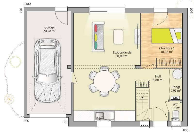 Maisons + Terrains du constructeur MAISONS BALENCY • 76 m² • NOZAY
