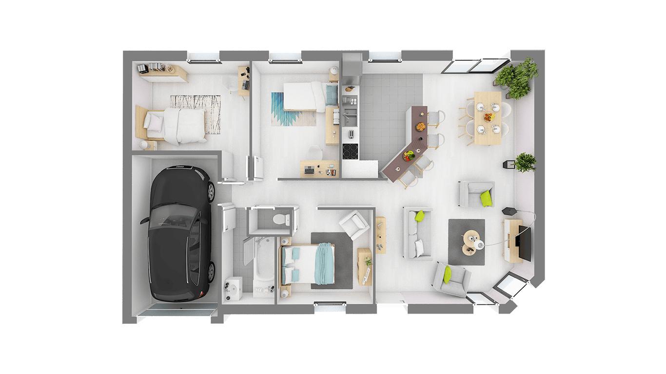 Maisons + Terrains du constructeur HABITAT CONCEPT - AGENCE DE DIEPPE • 84 m² • HAUTOT SUR MER