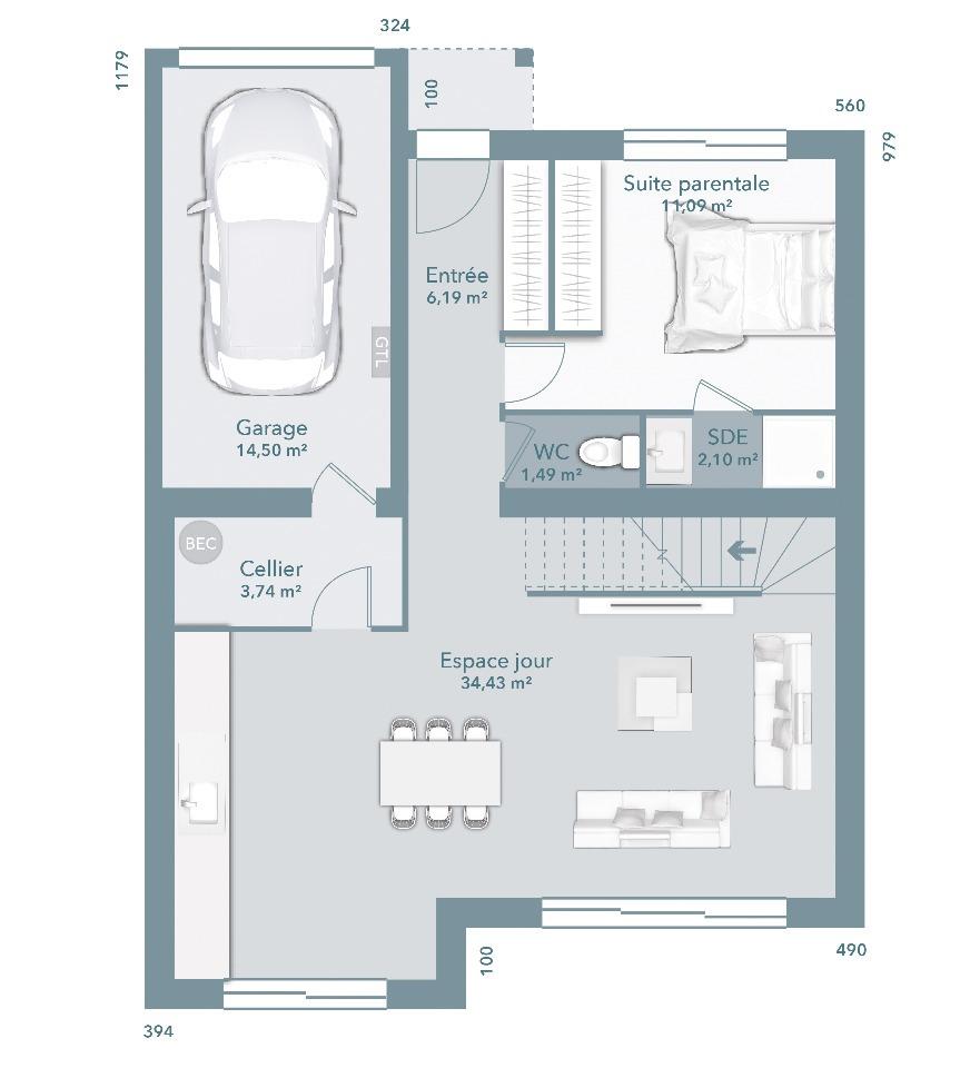 Maisons + Terrains du constructeur MAISONS FRANCE CONFORT • 92 m² • PELISSANNE