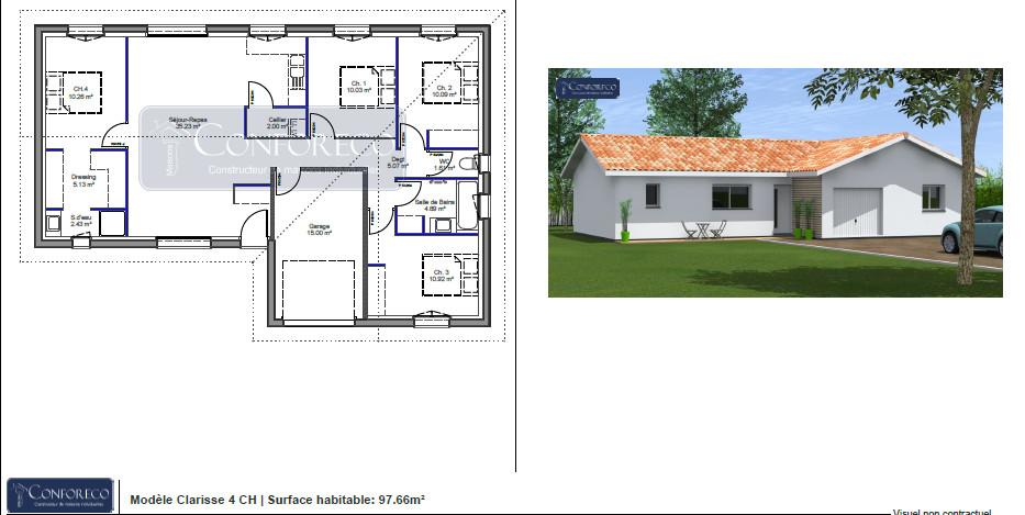 Maisons du constructeur MAISONS CONFORECO - AGENCE MONT DE MARSAN • 98 m² • SAINT VINCENT DE TYROSSE
