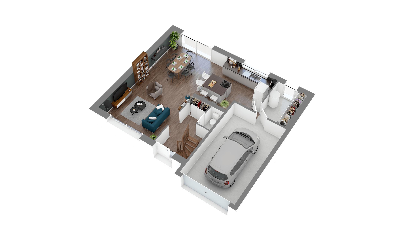 Maisons + Terrains du constructeur LES MAISONS.COM POISSY • 129 m² • BOUAFLE