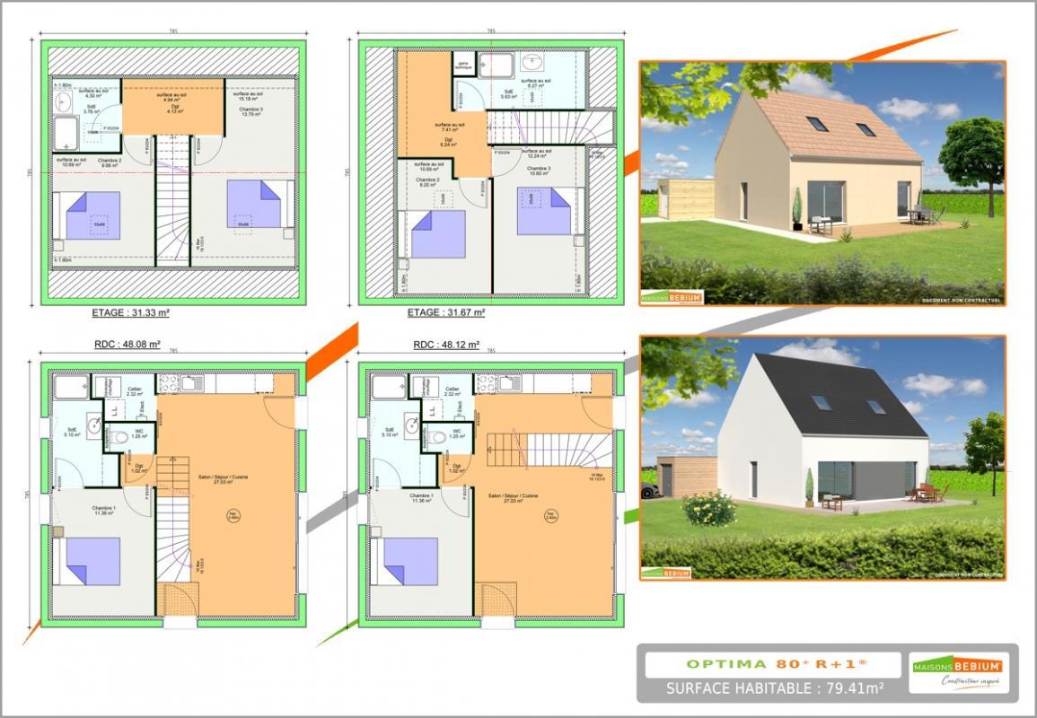 Maisons du constructeur LES LOGIS DE PICARDIE - AGENCE DE PONT SAINTE MAXENCE • 80 m² • CAMPAGNE