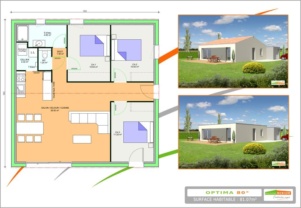 Maisons du constructeur LES LOGIS DE PICARDIE - AGENCE DE PONT SAINTE MAXENCE • 70 m² • MOGNEVILLE