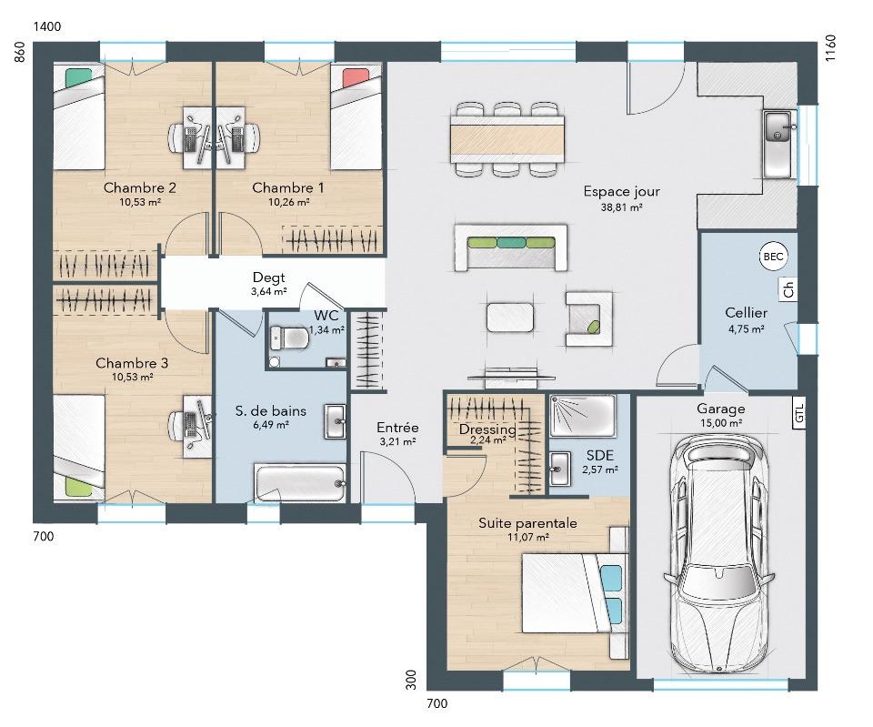 Maisons + Terrains du constructeur MAISONS FRANCE CONFORT • 100 m² • NEUVILLE AUX BOIS