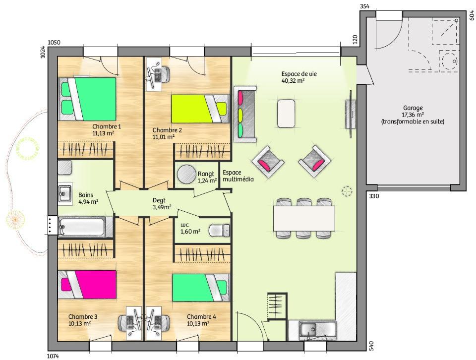 Maisons + Terrains du constructeur LES MAISONS DE MANON • 94 m² • MAS SAINTES PUELLES