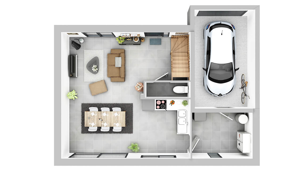 Maisons + Terrains du constructeur MAISON FAMILIALE VILLE DU BOIS • 102 m² • SAINT GERMAIN LES ARPAJON