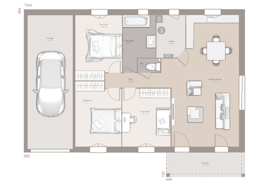 Maisons + Terrains du constructeur MAISONS FRANCE CONFORT • 80 m² • SAINT CYR SUR MENTHON