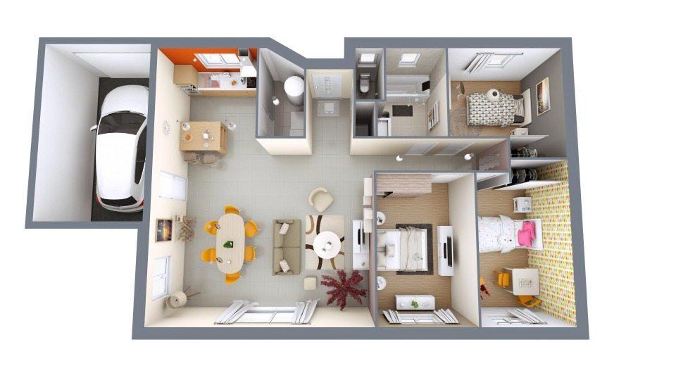 Maisons + Terrains du constructeur Maisons MCA Tresses • 90 m² • IZON