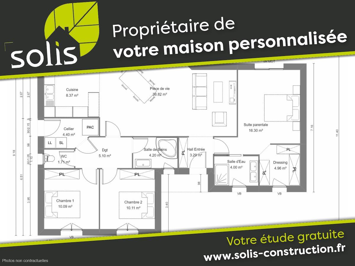 Maisons du constructeur SOLIS CONSTRUCTION - AGENCE DE SAINTES • 109 m² • SAINT PORCHAIRE