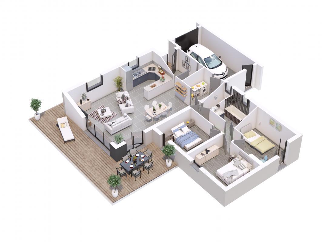 Maisons + Terrains du constructeur MAISONS LIBERTE - BOURG LES VALENCE • 110 m² • SAINT DONAT SUR L'HERBASSE