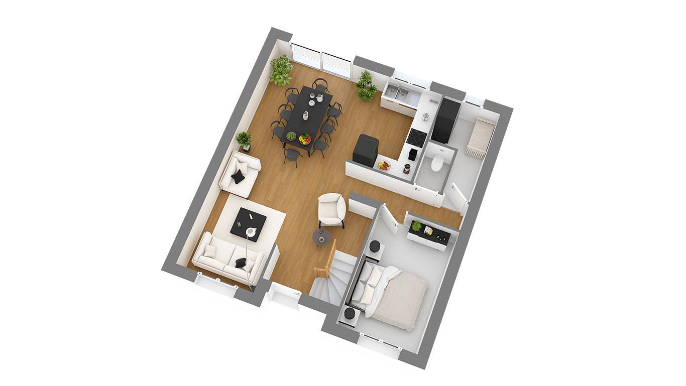 Maisons + Terrains du constructeur HABITAT CONCEPT • 103 m² • LE MESNIL AUBRY