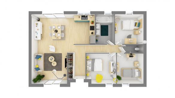Maison+Terrain à vendre .(95 m²)(VILLEQUIER AUMONT) avec (RESIDENCES PICARDES ST QUENTIN)