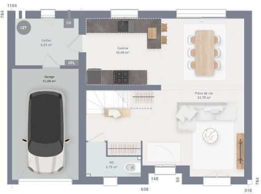 Maison+Terrain à vendre .(90 m²)(DOURDAN) avec (MAISONS FRANCE CONFORT)