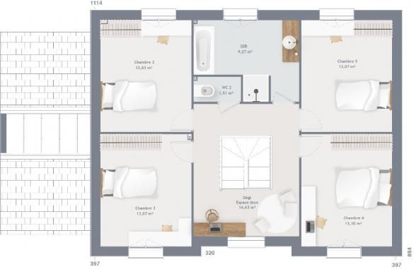 Maison+Terrain à vendre .(140 m²)(LA VILLENEUVE EN CHEVRIE) avec (MAISONS FRANCE CONFORT)