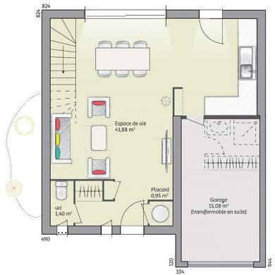Maison+Terrain à vendre .(96 m²)(OLONZAC) avec (MAISONS FRANCE CONFORT)