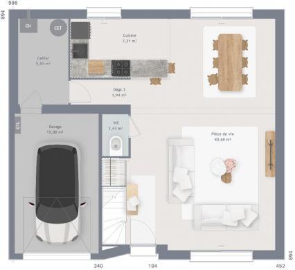 Maison+Terrain à vendre .(100 m²)(MONS EN PEVELE) avec (MAISONS FRANCE CONFORT)