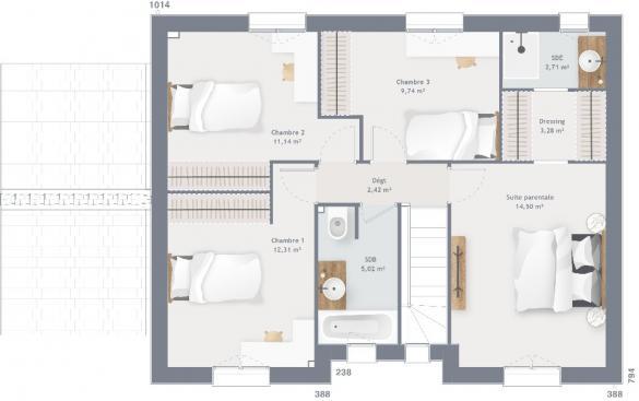 Maison+Terrain à vendre .(120 m²)(SARS ET ROSIERES) avec (MAISONS FRANCE CONFORT)