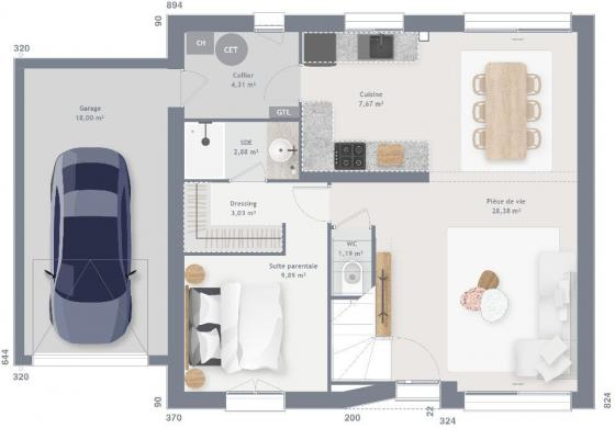 Maison+Terrain à vendre .(85 m²)(GOGNIES CHAUSSEE) avec (MAISONS FRANCE CONFORT)