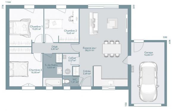 Maison+Terrain à vendre .(73 m²)(LABASTIDE GABAUSSE) avec (Maisons France Confort)