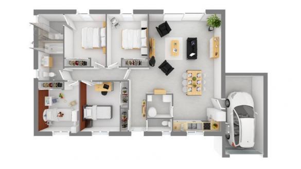 Maison+Terrain à vendre .(105 m²)(TECOU) avec (Maisons France Confort)