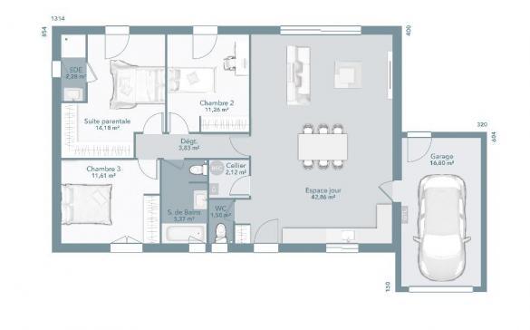 Maison+Terrain à vendre .(95 m²)(MONTGEARD) avec (MAISONS FRANCE CONFORT)