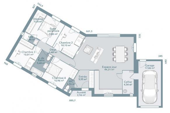 Maison+Terrain à vendre .(112 m²)(POMPERTUZAT) avec (Maisons France Confort)