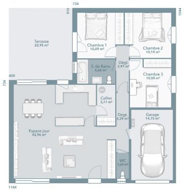 Maison+Terrain à vendre .(90 m²)(AYGUESVIVES) avec (Maisons France Confort)