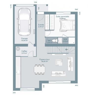 Maison+Terrain à vendre .(92 m²)(DALOU) avec (Maisons France Confort)