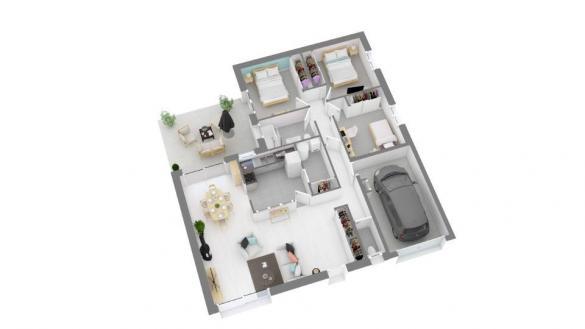 Maison+Terrain à vendre .(90 m²)(LE FOSSAT) avec (Maisons France Confort)