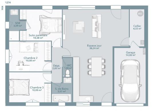 Maison+Terrain à vendre .(84 m²)(RIEUCROS) avec (Maisons France Confort)