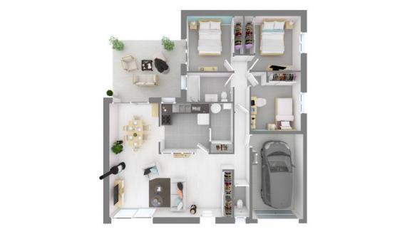 Maison+Terrain à vendre .(90 m²)(BLAN) avec (MAISONS FRANCE CONFORT)