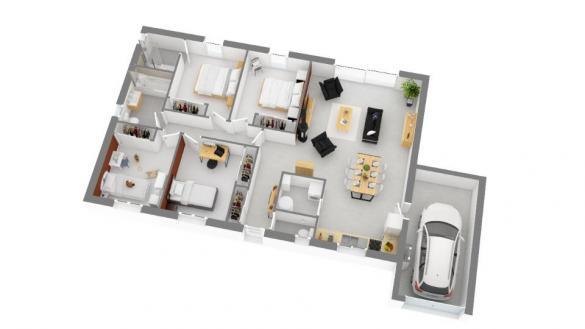 Maison+Terrain à vendre .(105 m²)(LEGUEVIN) avec (MAISONS FRANCE CONFORT)