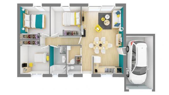 Maison+Terrain à vendre .(73 m²)(NEGREPELISSE) avec (MAISONS FRANCE CONFORT)