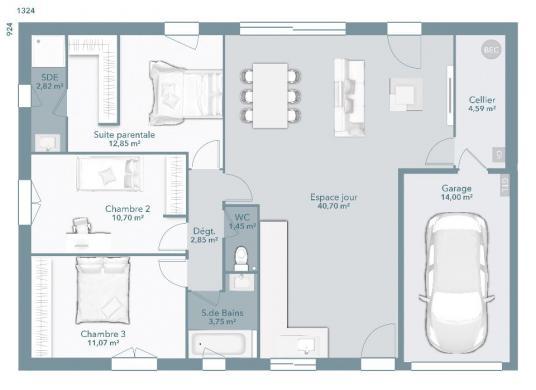Maison+Terrain à vendre .(90 m²)(L'HONOR DE COS) avec (MAISONS FRANCE CONFORT)