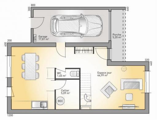 Maison+Terrain à vendre .(100 m²)(CHARTRES) avec (MAISONS FRANCE CONFORT)