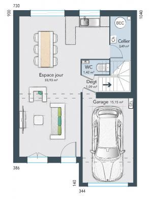 Maison+Terrain à vendre .(70 m²)(CHARTRES) avec (MAISONS FRANCE CONFORT)