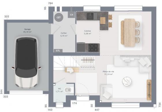 Maison+Terrain à vendre .(80 m²)(MAISONS) avec (MAISONS FRANCE CONFORT)