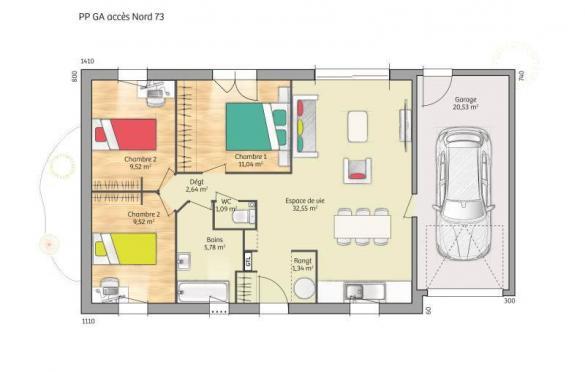 Maison+Terrain à vendre .(73 m²)(PIFFONDS) avec (MAISONS FRANCE CONFORT)