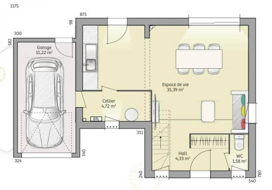 Maison+Terrain à vendre .(90 m²)(LA LOUPTIERE THENARD) avec (MAISONS FRANCE CONFORT)