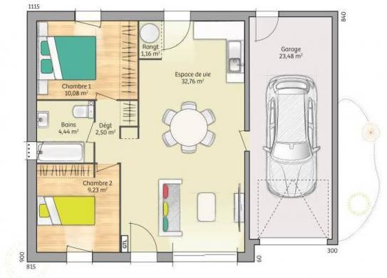 Maison+Terrain à vendre .(65 m²)(CHAMPLAY) avec (MAISONS FRANCE CONFORT)