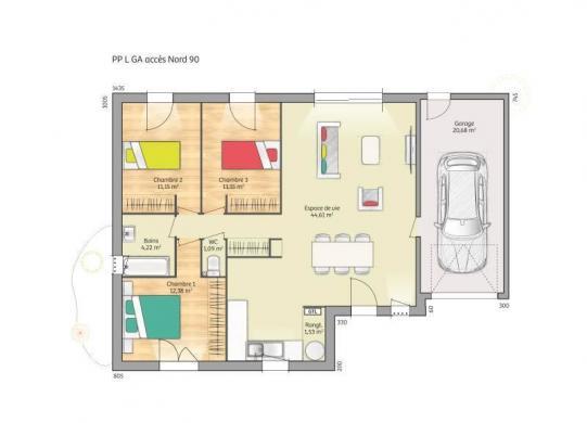 Maison+Terrain à vendre .(90 m²)(LAIN) avec (MAISONS FRANCE CONFORT)