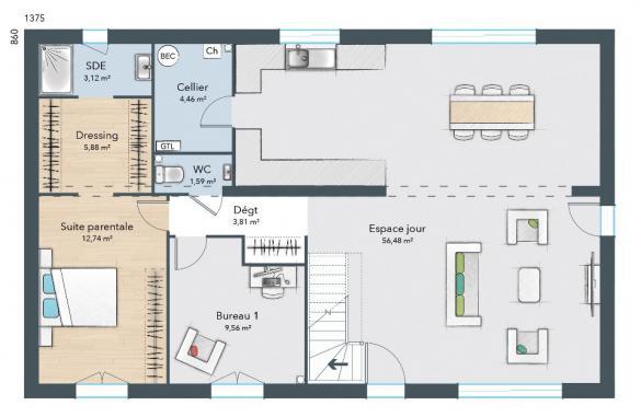 Maison+Terrain à vendre .(147 m²)(COURGENT) avec (MAISONS FRANCE CONFORT)